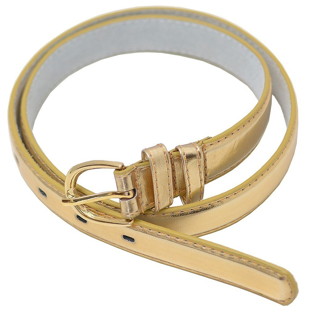 "Sophias Style Girls Gold Glossy Single Prong Buckle Belt S-XL (20.5-35"")"