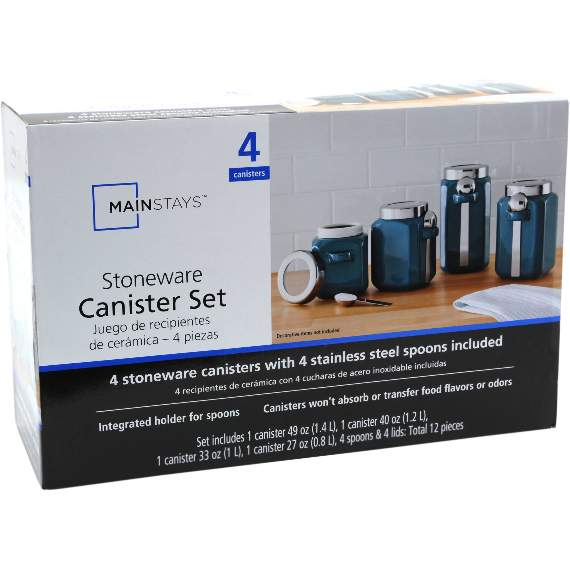 mainstays pantry durable ceramic for daily use contemporary mainstays pantry durable ceramic for daily use contemporary design and color 4pc canister set 4 pack walmart com