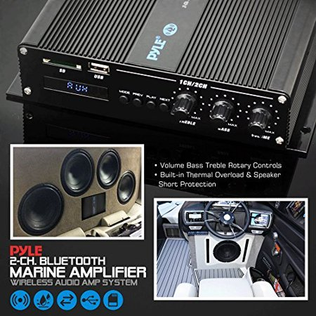 Pyle 2-Channel Bridgeable Marine Amplifier - Compact Power 200 Watt RMS 4 OHM Full Range Monoblock Stereo & Waterproof - Wireless Bluetooth Receiver Audio Speaker with LCD Digital (Compact Full Range)