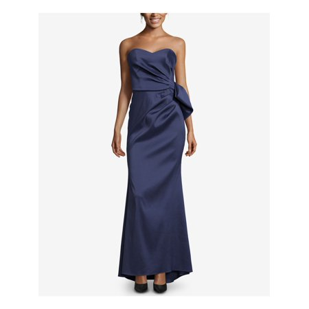 XSCAPE Womens Navy Bow Back Satin Gown Sleeveless Strapless Full-Length Evening Dress Plus  Size: 10 Silk Satin Organza Strapless Gown