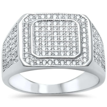 Sterling Silver Micro Pave Clear CZ Men's Hip Hop Ring Size 10