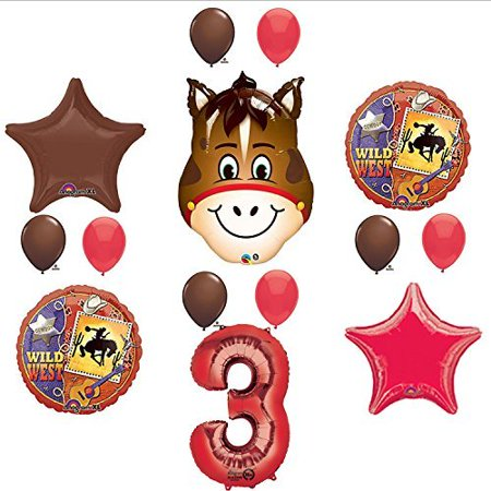 Wild West Cowboy Western 3rd Birthday Party Supplies and Balloon Decorations for $<!---->