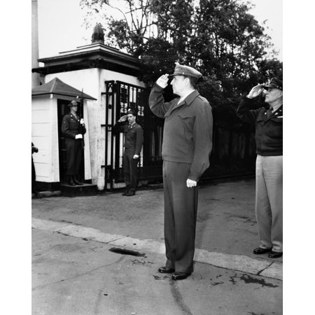 Douglas Macarthur N(1880-1964) American Army Officer Macarthur Salutes A Band Playing The National Anthem Outside Of His Residence In Tokyo Japan After World War Ii 1946 Rolled Canvas Art -  (24 x 36)