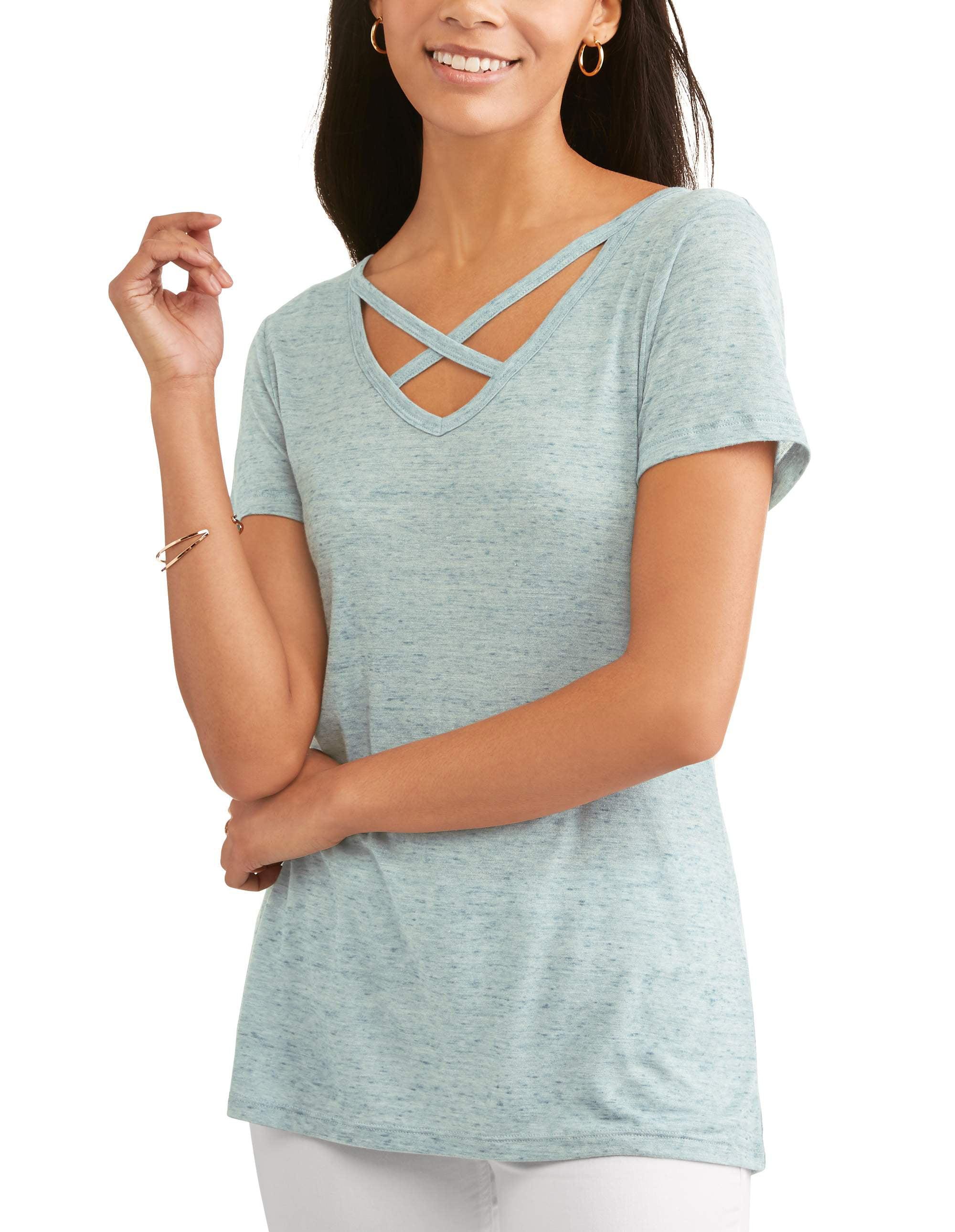 Women's Short Sleeve Cage Front Burnout Hi-Lo T-Shirt
