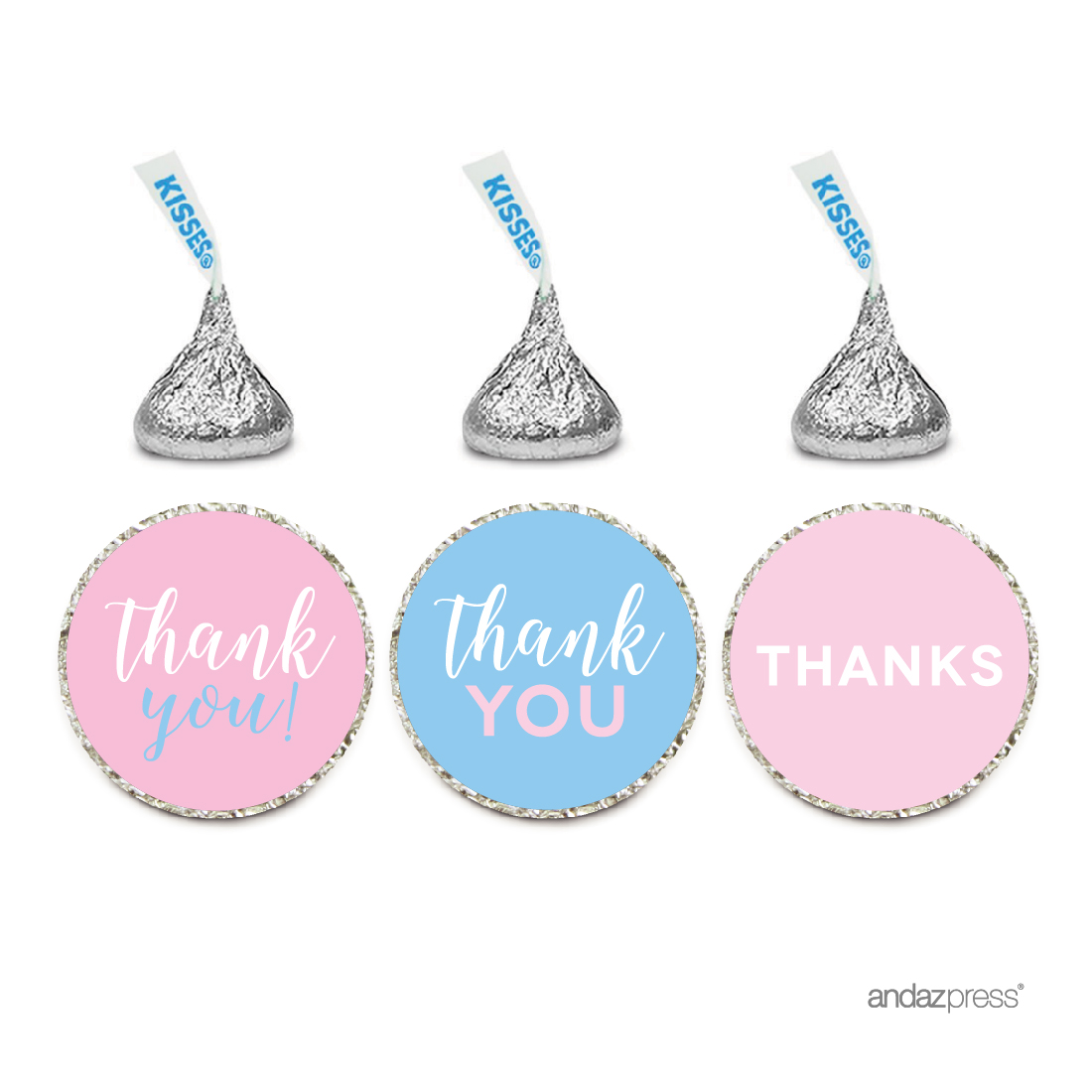 Signature Pink and Blue Gender Reveal Baby Shower, Chocolate Drop Labels Stickers, Thank You, 216-Pack