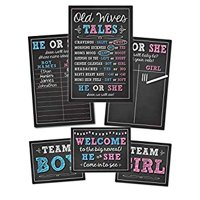 Baby Gender Reveal Party Supplies Kit with Decorations Games Photo Props Centerpiece [7 Piece Set] Boy Girl | Includes 3 Game Posters (11x17), 1 Chalk Marker (Erasable), 3 Signs (8x10)