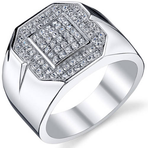 Oravo Men's CZ Rhodium-Plated Sterling Silver Engagement Ring