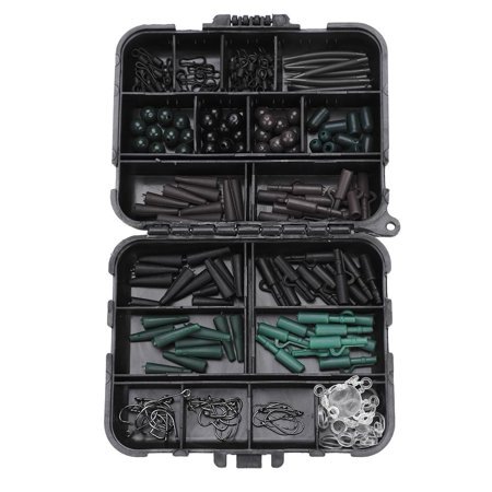 HURRISE Carp Fishing Tackle Kit Box Swivels Hooks Sleeves Soft Beads Tubes Clips Set Accessory, Carp Safety Lead Clips, Anti-tangle Sleeves - image 5 of 12