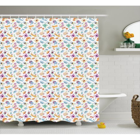 Alien Shower Curtain Monsters And Aliens With Planets UFOs Shooting Stars Astronomy Theme Illustration