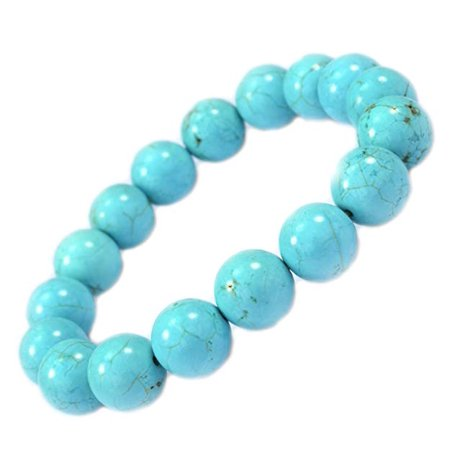 PURPLE WHALE 10mm Round Turquoise Stone Stretch Bracelet - Good for Healing and Protection - 91047