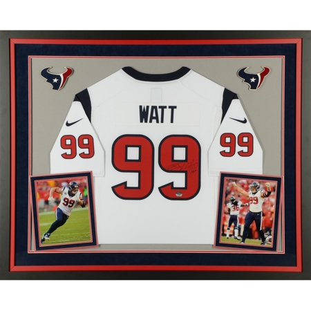 J.J. Watt Houston Texans Deluxe Framed Autographed Limited White Jersey - Fanatics Authentic