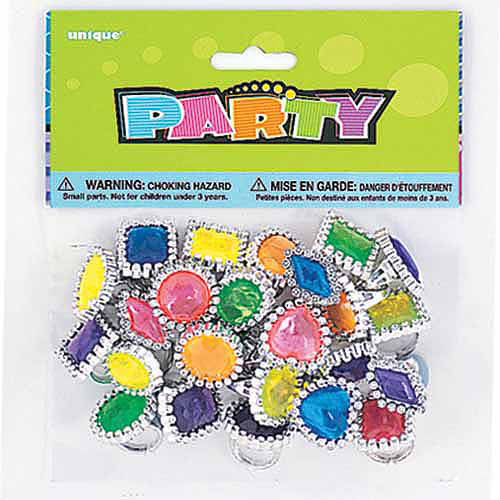 Plastic Gem Ring Party Favors, 24-Count