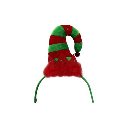 Light Up Christmas Helper Elf Hat Headband LED Red Green Striped Bell Accessory - Musical Elf Hat