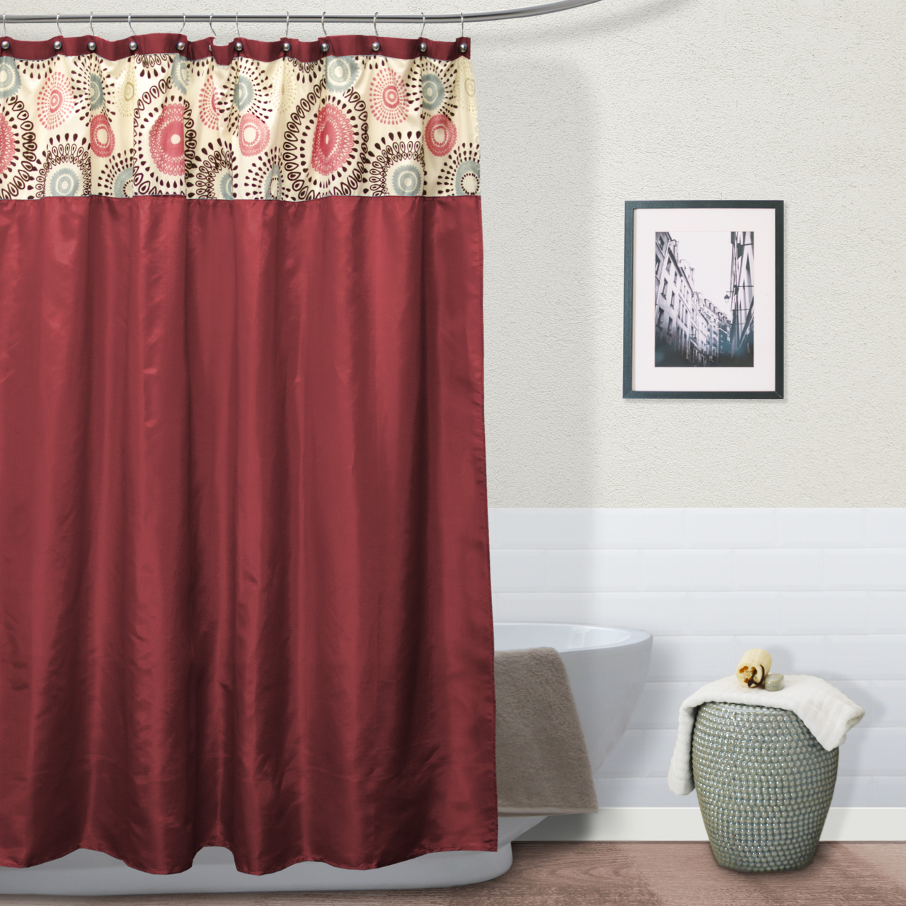 Meghan Fabric Shower Curtain, Jointed Teardrop Flocking Top - Burgundy