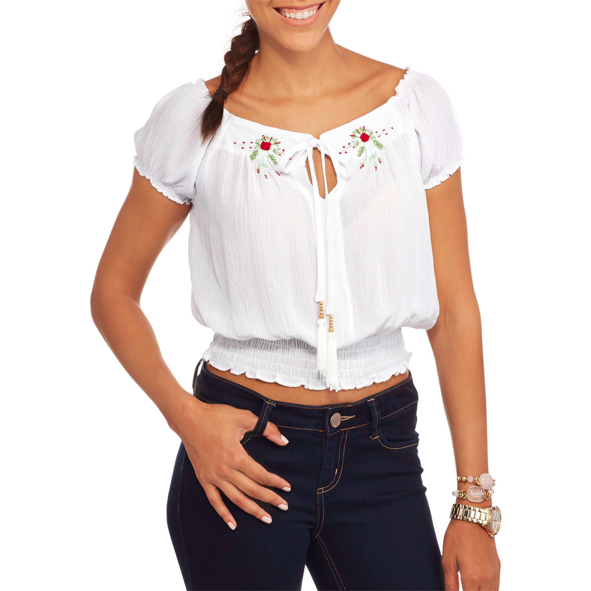 Juniors' Short Sleeve Peasant Top with Embroidery