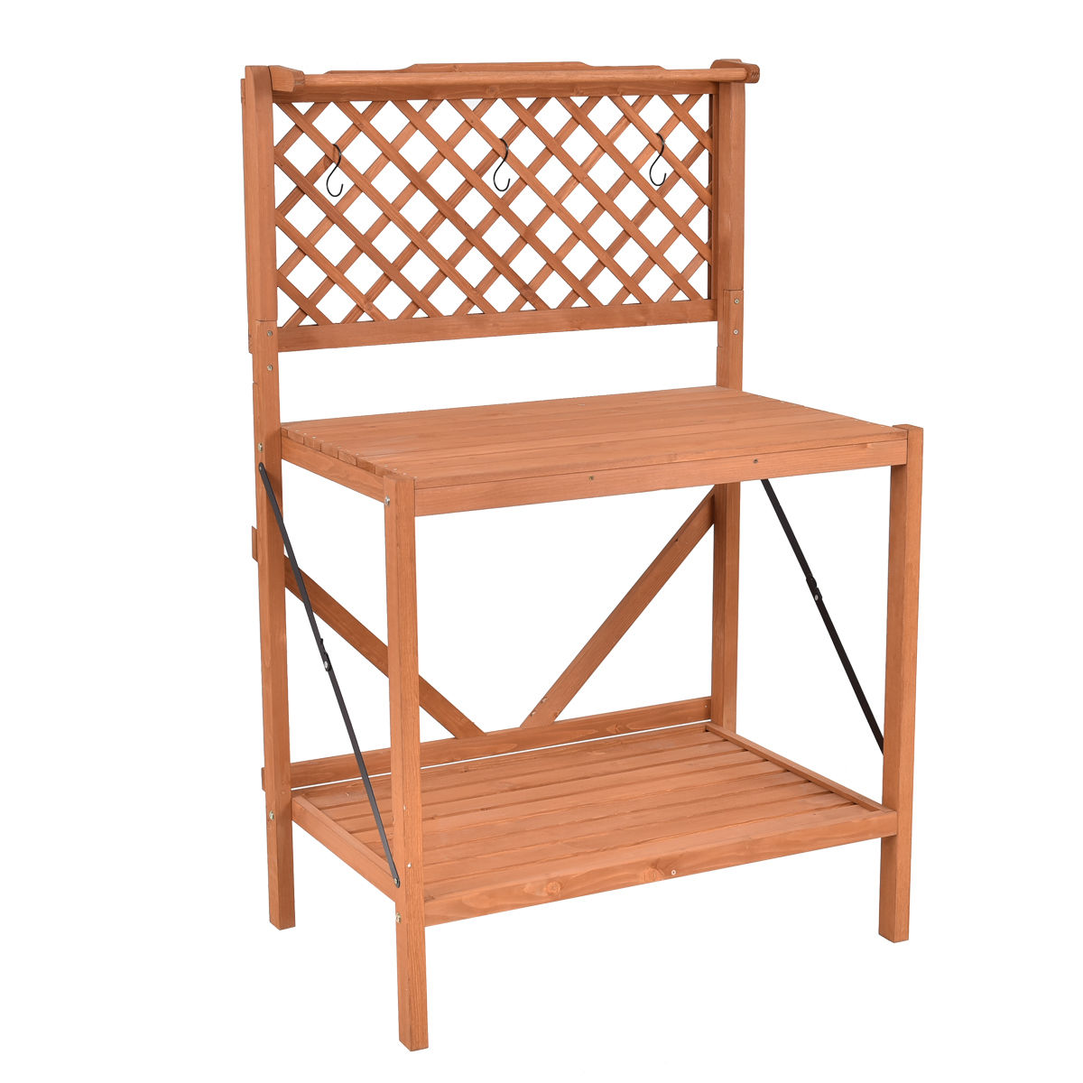 """GHP 35.4""""x23.4""""x56.3"""" Folding Wooden Garden Potting Bench Workstation with 3 Hooks"""