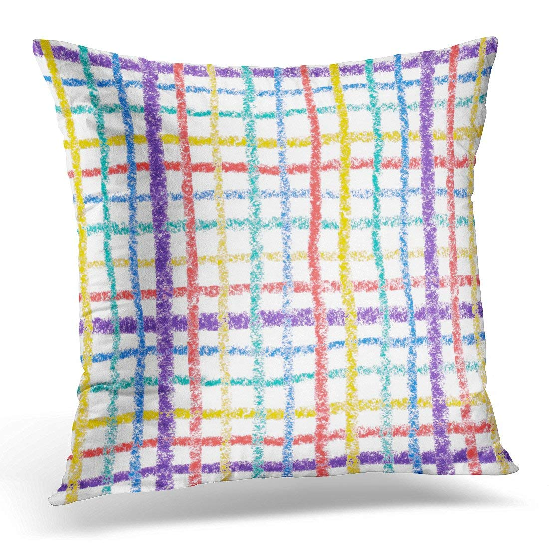 CMFUN Blue Child Hand Drawing Colorful Crayon Lines White Red Color Pillow Case Pillow Cover 20x20 inch