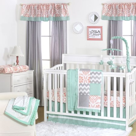Baby Nursery Girl - Medallion Medley Coral & Mint Baby Girl Crib Bedding - 20 Piece Nursery Essentials Set