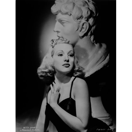 Betty Grable Portrait with Hands on the Chest near the Neck in Black Strap Velvet Dress Photo Print](Betty Grable Halloween)