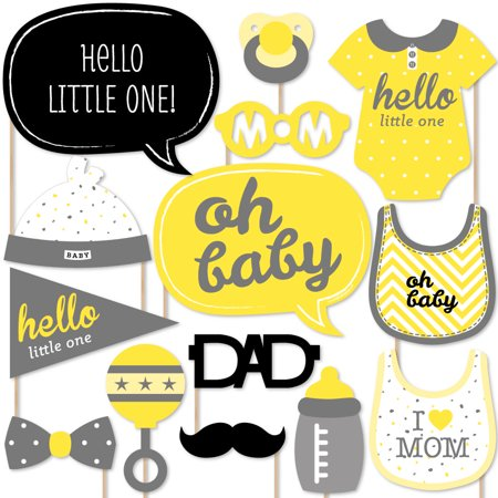Hello Little One - Yellow and Gray - Neutral Baby Shower Photo Booth Props Kit - 20 Count
