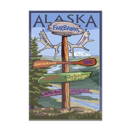 Fairbanks, Alaska - Sign Destinations - Lantern Press Poster (8x12 Acrylic Wall Art Gallery Quality) ()