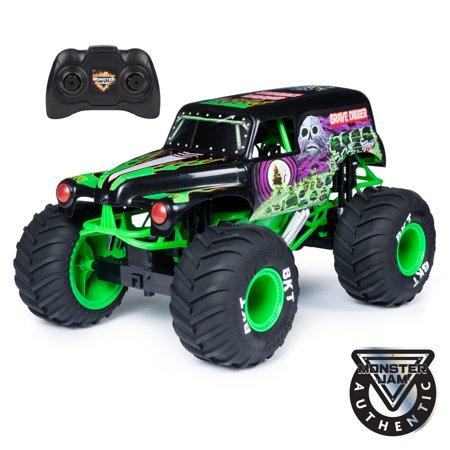 Monster Jam, Official Grave Digger Remote Control Monster Truck, 1:10 Scale, with lights and sounds, for Ages 4 and Up (Dump Truck Remote Control)