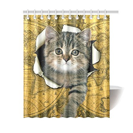 GCKG World Map Funny Cat Shower Curtain Hooks 60x72 inches Yellow Fabric Cracked Wall Vintage World Map Cat Kitten - image 3 de 3
