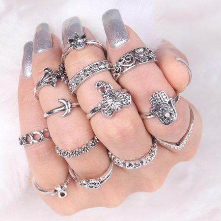 13pc/set Bohemian Vintage Women Silver Gold Elephant Finger Rings Knuckle Rings Jewelry Gift Jewelry Accessories