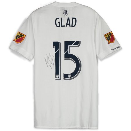 reputable site 9edf5 ed5f0 Justen Glad Real Salt Lake Autographed Match-Used White #15 Jersey vs. San  Jose Earthquakes on July 28, 2018 - Fanatics Authentic Certified