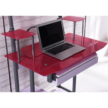 Hodedah Tempered Glass Computer Desk in Pink - image 4 de 6