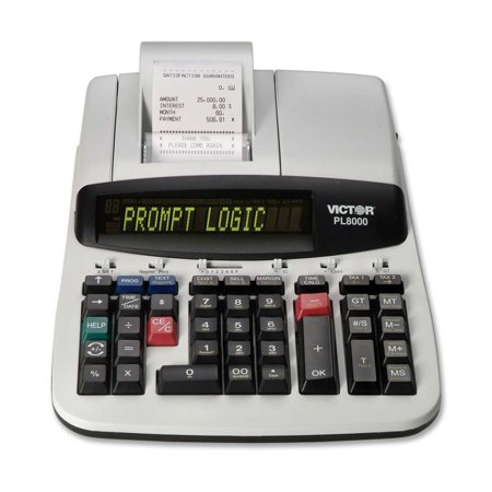 Victor Pl8000 14 Digit Heavy Duty Thermal Printing Calculator   8   Date  Clock  Heavy Duty  Backlit Display  Durable  Independent Memory  4 Key Memory   Ac Supply Powered   4  X 8 8  X 13 5    Gray