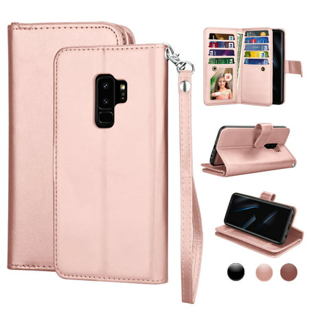 Cases For Samsung Galaxy S9 / S9+ / S8 / S8+ / S7 / S7 Edge, Njjex [Wrist Strap] Luxury PU Leather Wallet Flip Protective Case Cover with 9 Card Slots & KickStand -Rose Gold