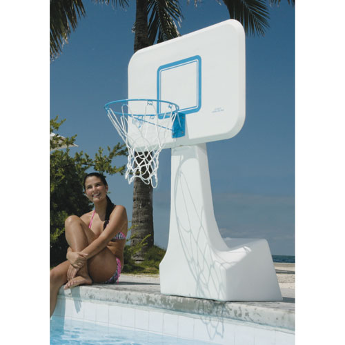Dunnrite PoolSport Swimming Pool Basketball Hoop with 13.5-inch Stainless Steel Rim, All-Weather Net, And Mid-Size Baske