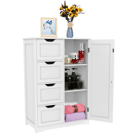 Topeakmart Wooden Floor Cabinet Bathroom Storge Cabinet With 4 Drawers White by Topeakmart