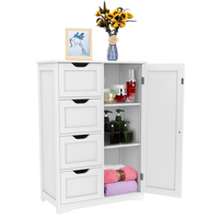 Deals on Topeakmart Wooden Floor Cabinet Bathroom Storge Cabinet