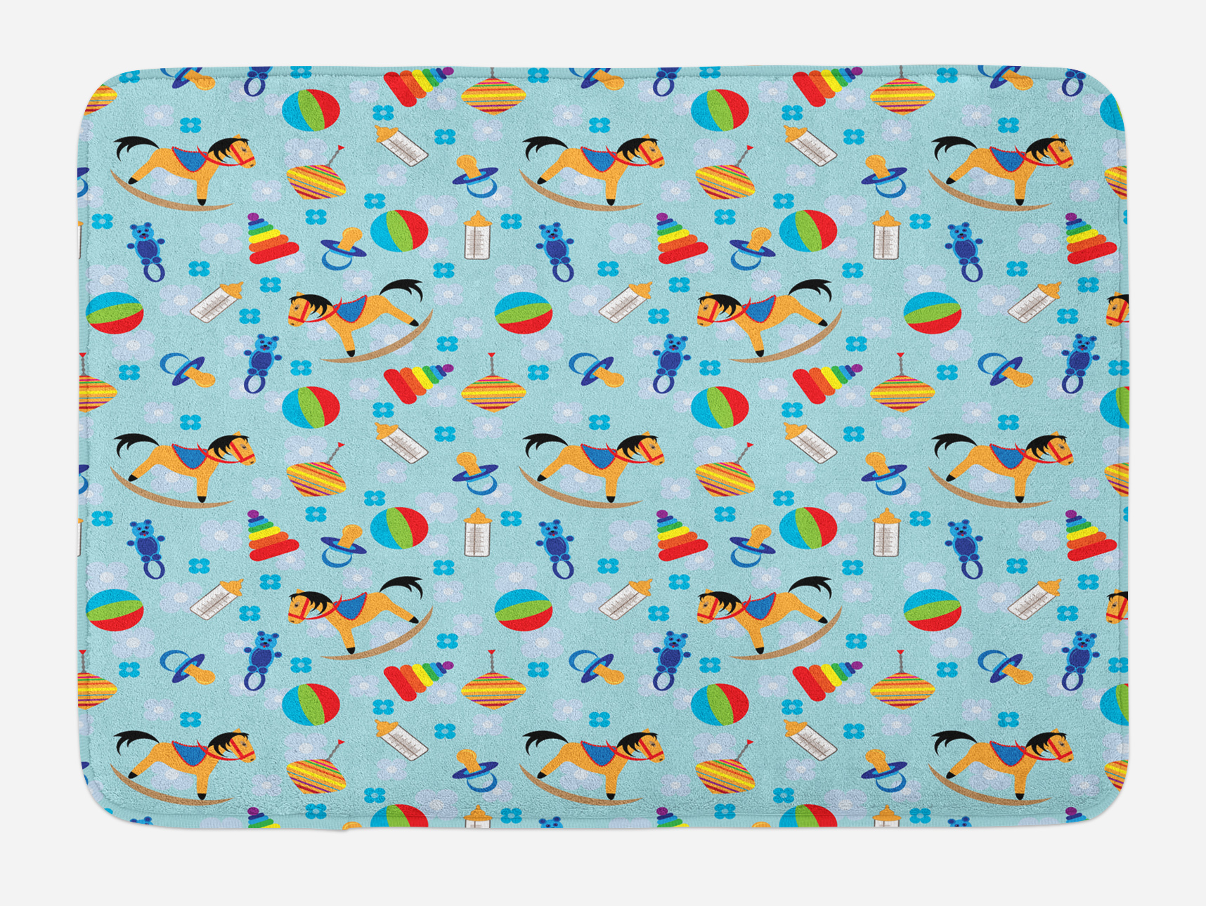 Kids Bath Mat, Colorful Joyous Composition with Different Children`s Toy Figures in... by 3decor llc