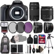 Canon EOS Rebel 200D / SL2 24.2MP Digital SLR Camera Black with 18-55mm and 75-300mm Double Lens + Accessory Bundle