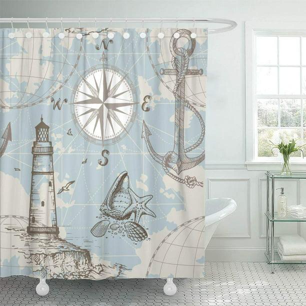 Cynlon Vintage Sea Map Compass Lighthouse Anchor And Seashells Perfect Bathroom Decor Bath Shower Curtain 60x72 Inch Walmart Com Walmart Com
