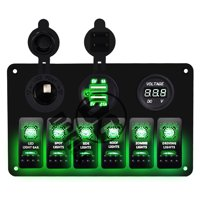 6 Gang Circuit LED Car Marine Waterproof 5 Pin Boat Rocker Switch Panel with Fuse Dual USB Slot LED Light + Power Socket Breaker Voltmeter for RV Car Boat Green