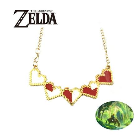 Legend of Zelda Necklace Pendant - 8-Bit Hearts - Video Games Cosplay Jewelry by Superheroes - Cosplay Legend Of Zelda