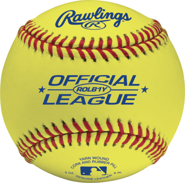 Rawlings ROLB1Y Official League Competition Grade Cork/Rubber Center Yellow Baseballs