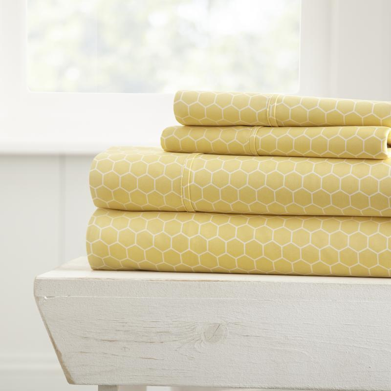 Noble Linens Ultra Soft Honeycomb Pattern 4 Piece Bed Sheet Set