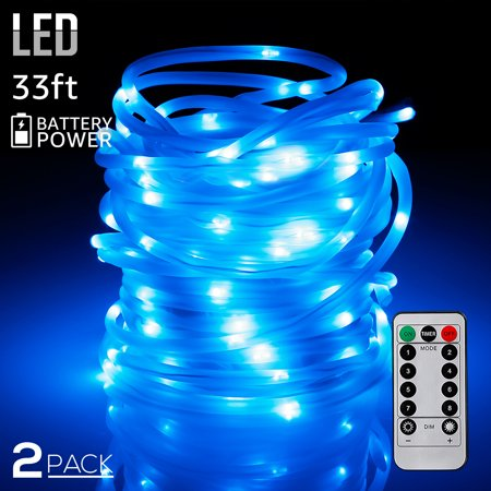 Torchstar 2 Pack 33ft 100 Leds Battery Outdoor Led String Lights Decor Rope For Bedroom Blue