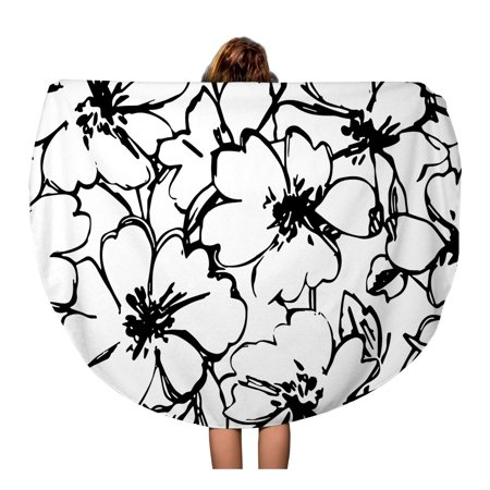 LADDKA 60 inch Round Beach Towel Blanket Pattern Flowers Floral Outline Small Pretty Rose Abstract Black Travel Circle Circular Towels Mat Tapestry Beach Throw
