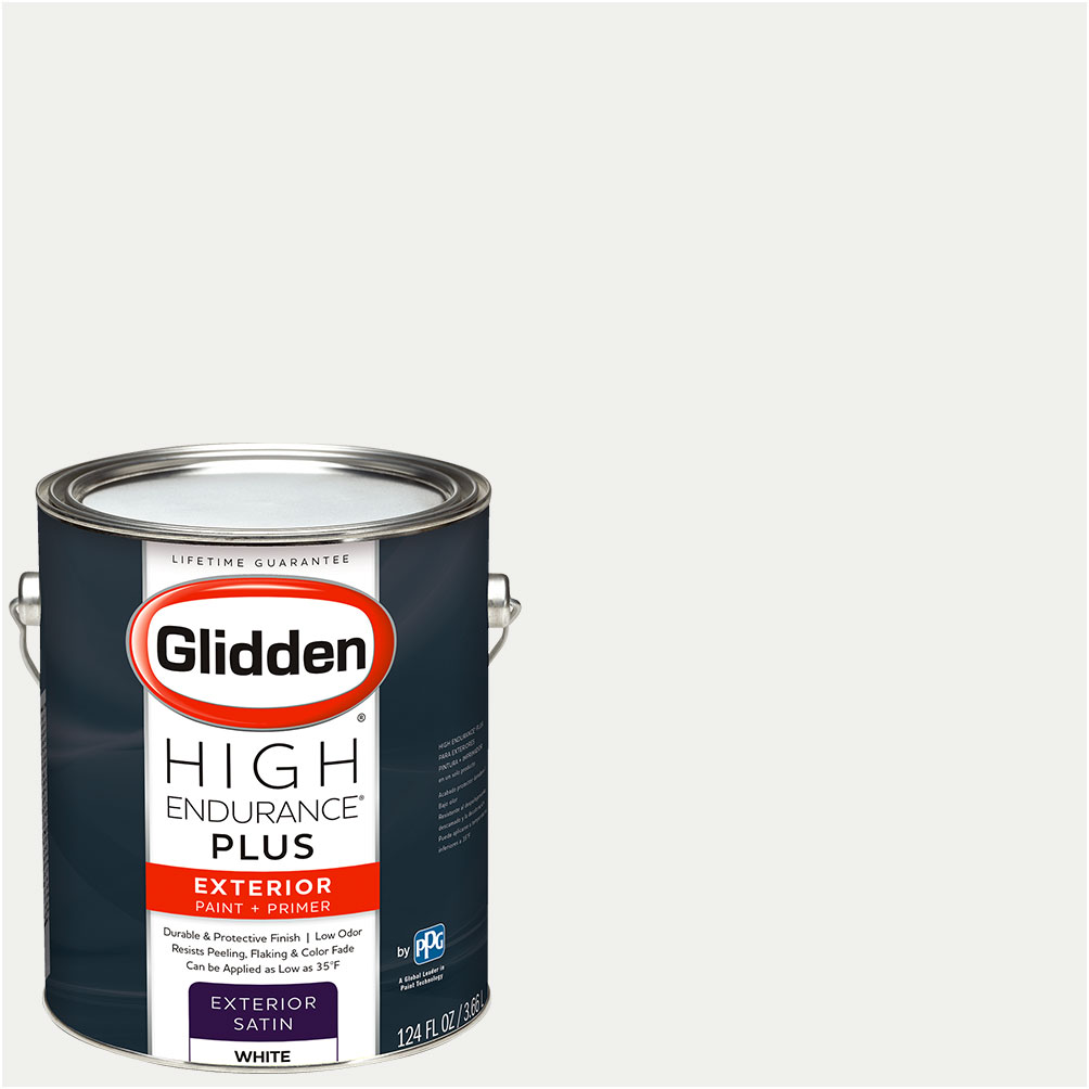 Glidden High Endurance Plus, Exterior Paint And Primer, Ready Mix White