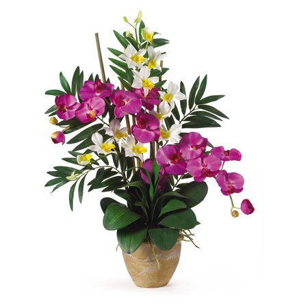 Nearly Natural Double Phal/Dendrobium Silk Flower Arrangement, - Orchid Flower White 6 Stems