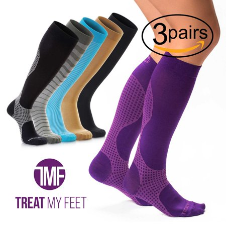 3 Pairs of Compression Socks Bundle 15-20 mmHg for Women & Men, Knee High Compression Stockings Help Relieve Leg & Foot Pain - Graduated to Boost Circulation & Reduces Edema Swelling (Foot Stocking)