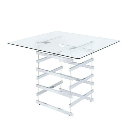 ACME Nadie Counter Height Table, Clear Glass and Chrome