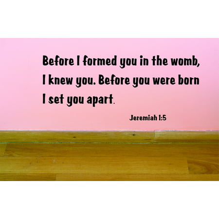 """Living Room Art Before I Formed You In The Womb, I Knew You. Before You Were Born, I Set You Apart. Jeremiah 15 Bible Quote 12x22"""""""