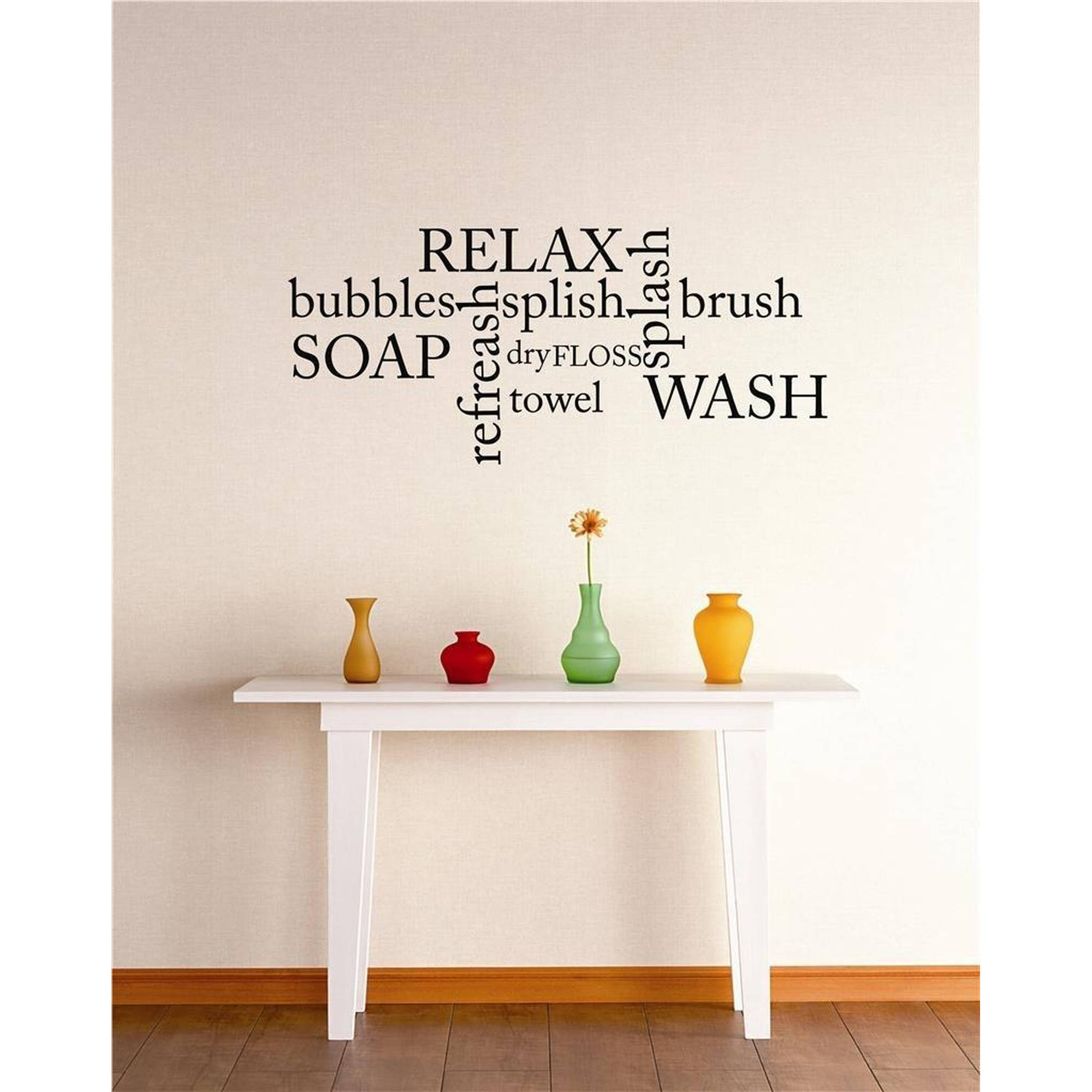 "Bubbles Relax Splish Splash Brush Wash Towel Soap Quote Bathroom Vinyl Wall Decal, 9"" x 20"", Black"